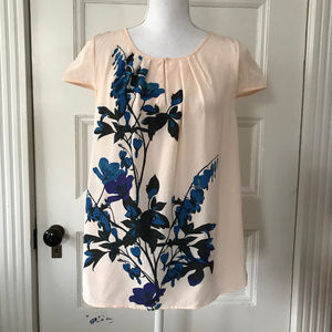 J Crew Peach Tela Floral Silk Shell Top